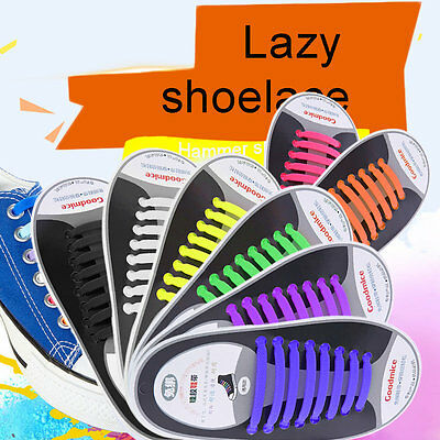 Easy No Tie Elastic Shoe Lace 100% Silicone Trainers Shoes Adult Kids Shoelace