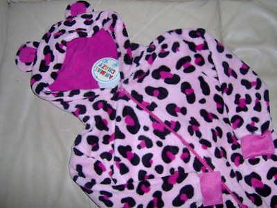 Girls Fleece Pink Animal All-In-One With Hood  -Ages 2/3 - 3/4 - 5/6 Yrs