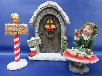 Christmas Miniature - Elves Workshop Door - North Pole Sign & Holly Fairy Set