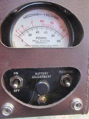 Vintage KS-8455 L2 Bell System Ohm Test Meter Insulated- Leather Case