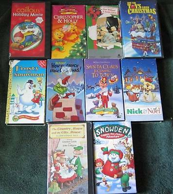 Huge LOT Christmas VHS VCR Videotapes Snowden Caillou Frosty Grinch Classic