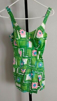 Vtg Perfection Fit Roxanne Green Floral Swimsuit Skirt  12 / 34 C runs small