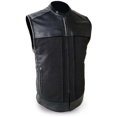 First Mfg Mens Hideout Leather/Textile Motorcycle Vest S-5XL Free Shipping