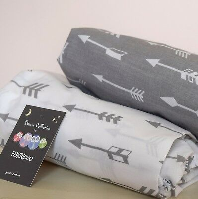 2 x Cot Bed Fitted Sheet 100% COTTON GREY  arrows , clouds