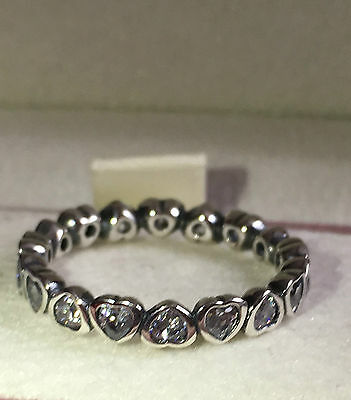 Pandora Sparkling Heart Stackin Ring ,190897Cz S925 Ale, Size 52 With Pouch