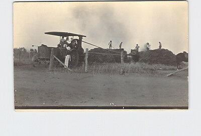 Rppc Real Photo Postcard Farmers Working With Hay Early Tractor With Belt Runnin