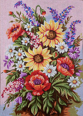 Needlepoint tapestry gobelin printed canvas  FLOWERS