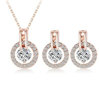 Bridesmaid Jewellery Set Earring Necklace Choker Rose Gold Crystal Wedding Gift