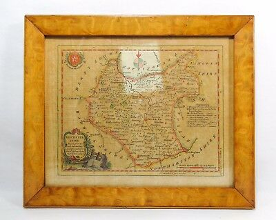 RARE ANTIQUE 18th C BRITISH COLOR MAP LEICESTER SHIRE C.1747-60, BY T. KITCHIN
