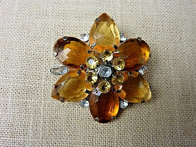 ESTATE Vintage Jeweled Citrine Glass & Rhinestones Flower Hair Barrette