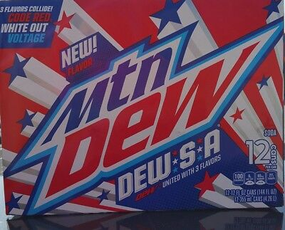 Nib Mountain Dew  Dew S.a. 3 Flavor Soda Pop 1- 12Pk