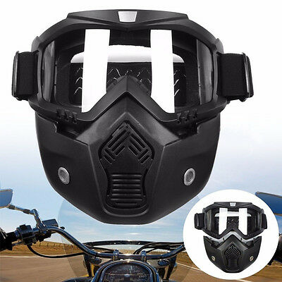 Detachable Modular Riding Motorcycle Face Mask Helmet Goggles Shield New