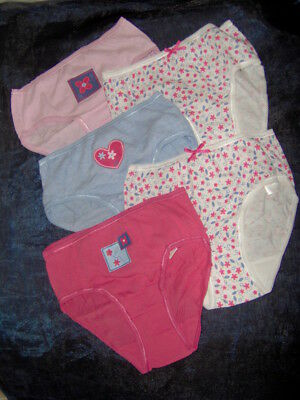 5 Pairs Girls Pretty Briefs Knickers  - Ages 5/6 - 7/8  Yrs