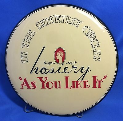 Vintage Orignl HOSIERY Stockings Store Display CELLULOID Button Advertising Sign