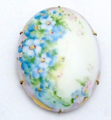 Antique Victorian Gold Filled Hand Tole Painted Floral China Pin Brooch 21052