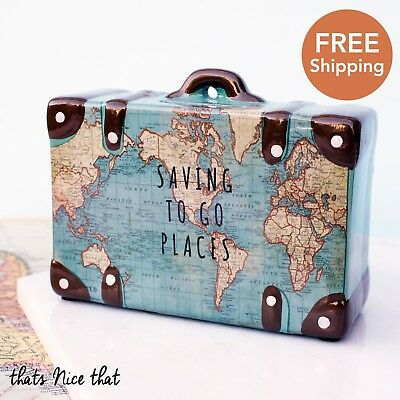 Travel Money Box Holiday Ceramic Fun Home Suitcase Saving To Go Places Gift Pot