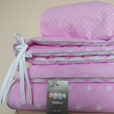 100%COTTON Cot Bed Duvet Cover Set FOR BABY GIRL stars chevron baby pink