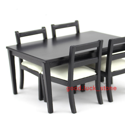1/12 Scale Dollhouse Miniature Furniture  Black Dining Table And 4 Pcs Chairs