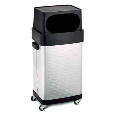 Rolling Commercial Trash Can Stainless Steel Waste Bin 17 Gal Adjustable Height