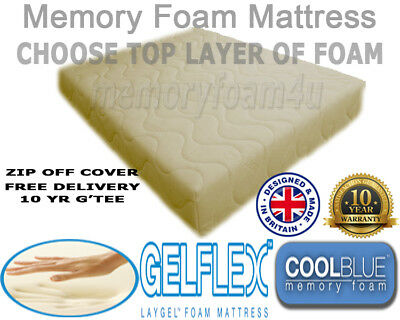 New Memory Foam Cool Blue Gelflex Orthoapedic Mattress 3Ft 4Ft6 5Ft With Cover