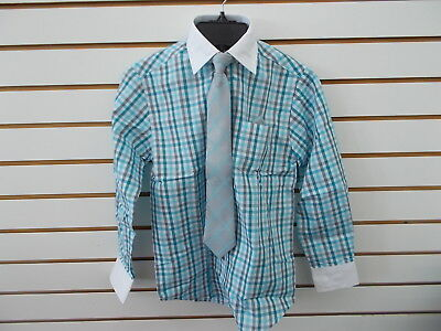 Boys Young Kings by Steve Harvey $40 Turquoise Plaid Dress Shirt Sz 8 - 20