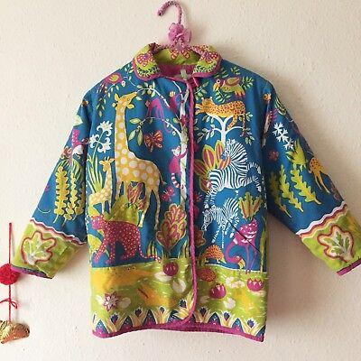 Vintage 1980s Kids CLOTHKITS Quilted Cotton Jungle Animals Jacket 7-8y RARE