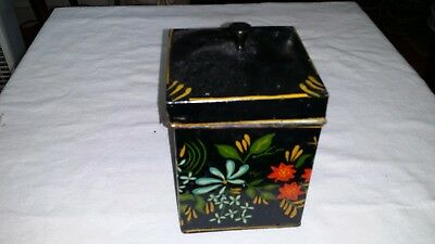 Gorgeous Hand Painted  Vintage Tin Tea Caddy - Spice Box  Flowers (No 3)