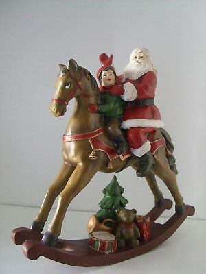 Antique Rocking Horse with Santa Child and Gifts Christmas Ornament 28cm high