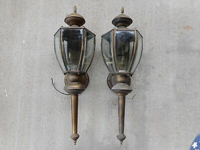 2 Outdoor Porch Garage Patio Wall Lanterns Scounces Light Fixtures Glass Panels