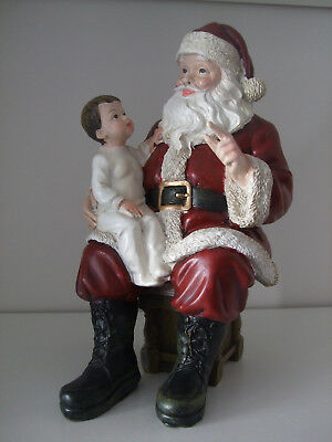 Sitting Santa with Child Christmas Ornament 23cm high