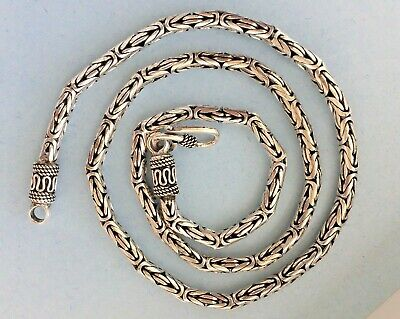 "4mm 925 Sterling Silver Men's Women's Byzantine Chain 16"" 18""20"" 22"" 24"" 26"" 28"""