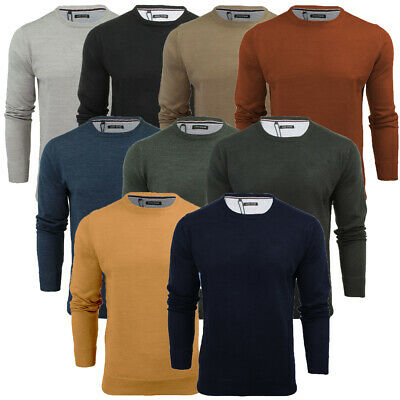 Mens Light Knitted Crew Neck Jumper Long Sleeve Sweater Jersey Parsec Brave Soul
