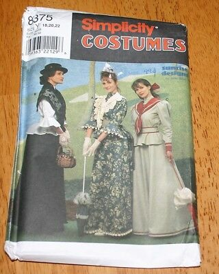 Simplicity Costume Pattern #8375 TURN OF THE CENTURY DRESSES UNcut SZ 18,20,22