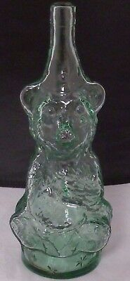 Vintage  Beverages Bear Bottle Green CIrcus bear playing DRUM   EXCELLENT