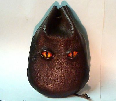 Dragon Eyes Taller Brown Leather Dice Rune Coin Pouch Bag  Sca Larp