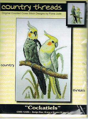 """"""" COCKATIELS """"  Cross Stitch Kit,  Country  Threads"""