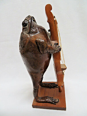 Taxidermy Stuffed Toad Frog with Bass Fiddle Music Instrument
