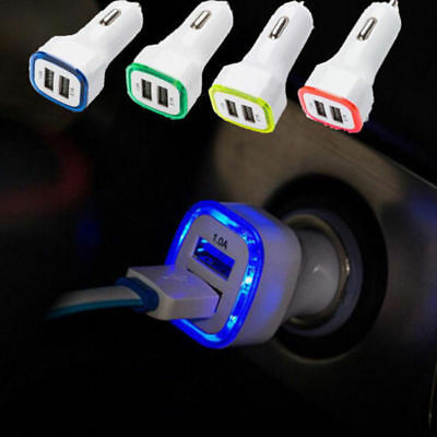 New Universal Double USB Port Car Charger LED Adapter For Cell Phones Random 1PC
