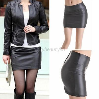 US Women High Waist Short Pencil Bodycon Skirt Stretch Leather Mini Dress S-2XL