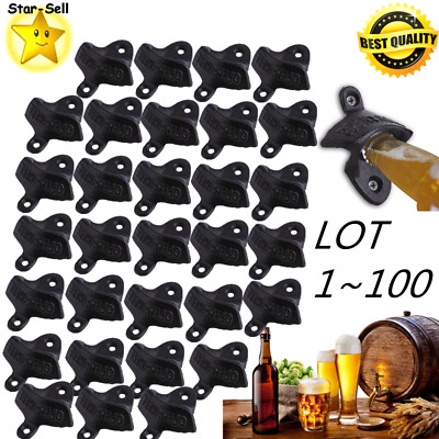 LOT 1-100 Bottle Opener Rustic Cast Iron Wall Mounted OPEN HERE Beer Soda US MA