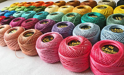 40 ANCHOR Pearl Cotton Crochet Threads Balls. J & P Size 8 (85 Meters each) New