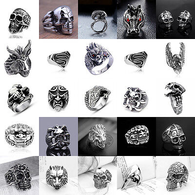 Men's Fashion Steampunk Stainless Steel Jewelry Skull Vintage Silver&Black Rings