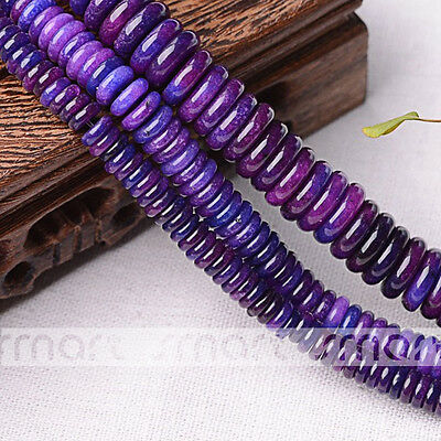 "Synthetic Sugilite Gemstone Spacer Loose Beads 15.5"" Strand 6x2 8x2 12x4mm"