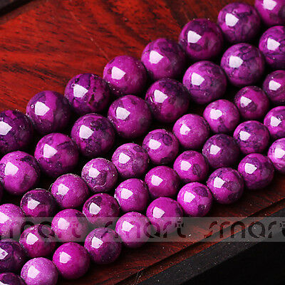 "Synthetic Sugilite Gemstone Round Loose Beads 15.5"" Inches Strand 6 8 10 12mm"