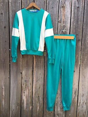 Vintage 80s Sweatsuit Size Small Medium Teal Green & White Sweatshirt Sweatpants