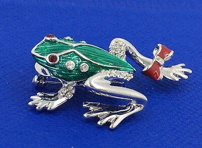 New Frog Pin Green Reptile Bow Swarovski Crystal Jeweled By Rucinni