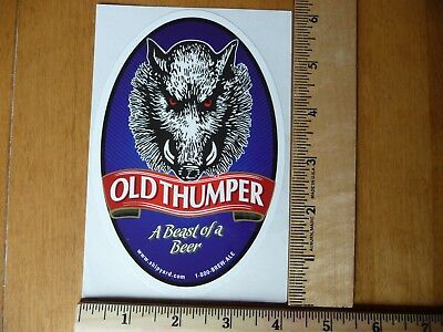 """Shipyard Brewing Company Old Thumper Beer Sticker - Portland, Maine, 3.5"""" x 6"""""""