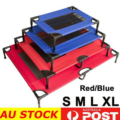 4 Size Heavy Duty Pet Dog Bed Trampoline Hammock Canvas Cat Puppy Cover Red/Blue