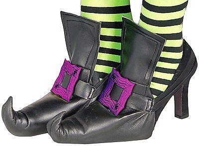 Purple Buckle Witch Shoe Covers for Adult Halloween Costume Mens Womens One Pair