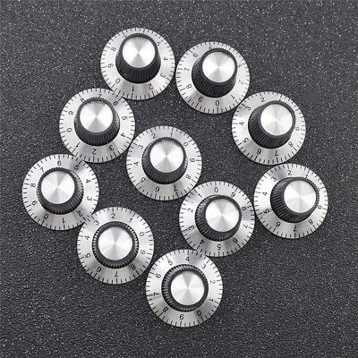 10 Pcs Scale with Dial Shaft Rotary Cap Potentiometer Metal Knob Accessories